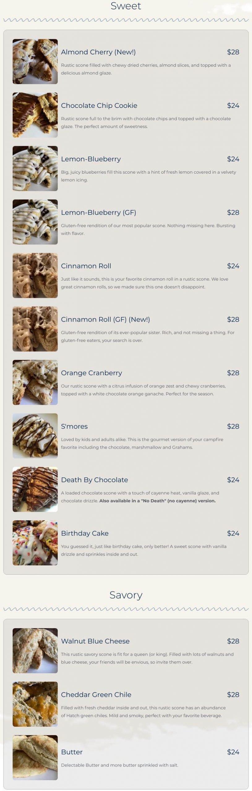 scone menu