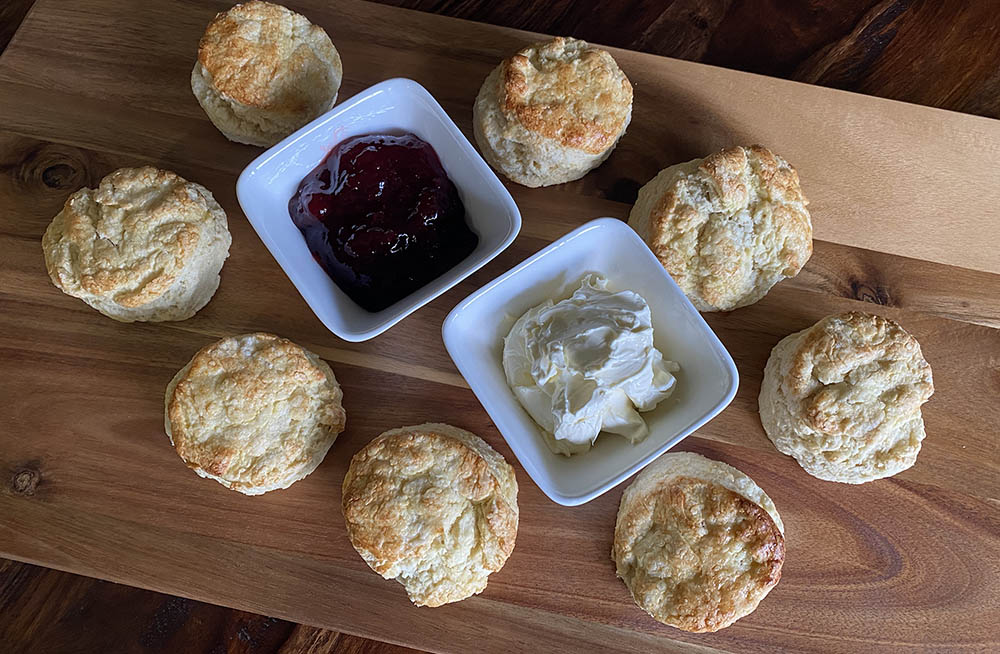 traditional british scone with clotted cream